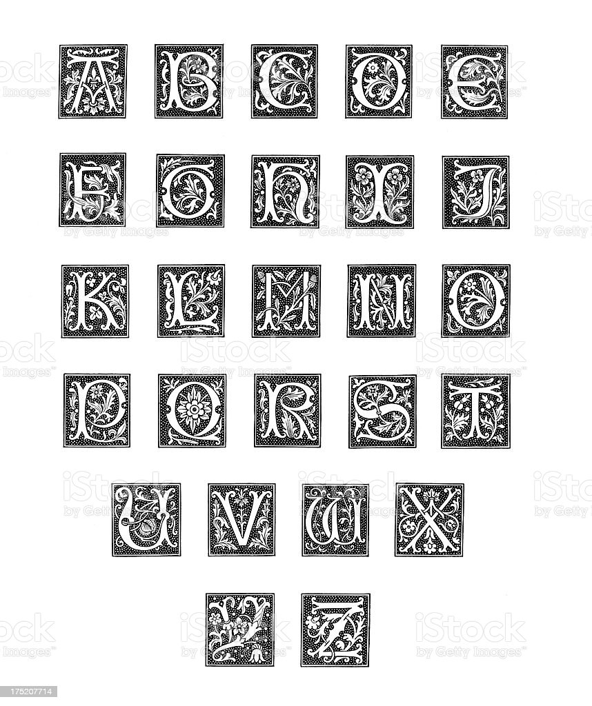 Alphabet from Woodcut Engravings vector art illustration