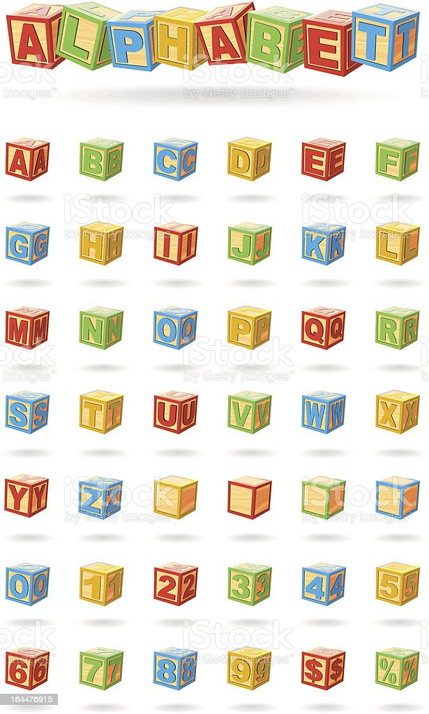 alphabet on a baby cubes vector art illustration