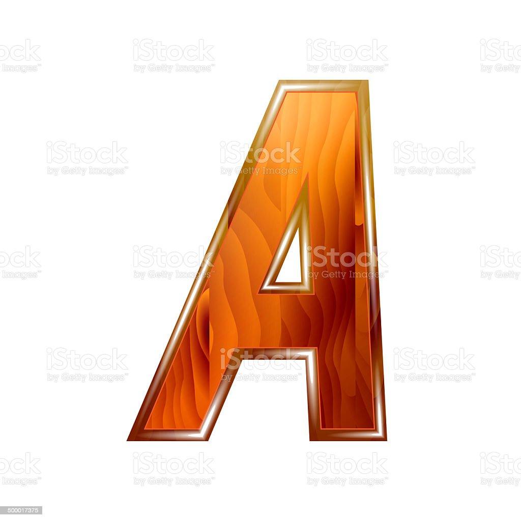 Alphabet wooden, letter A vector art illustration