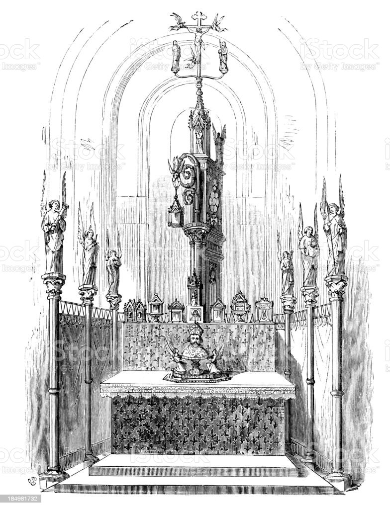 Altar of the old Cathedral royalty-free stock vector art