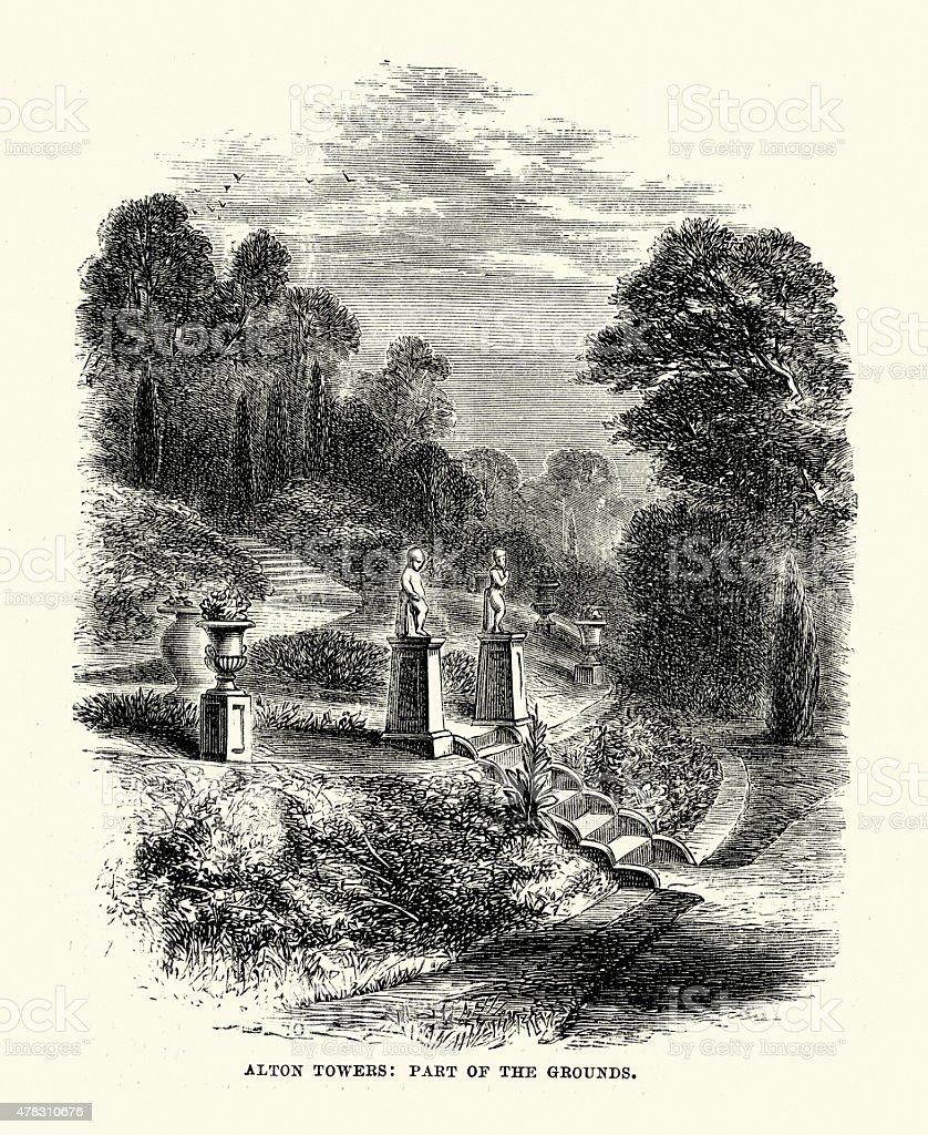 Alton Towers the Gardnes 1869 vector art illustration