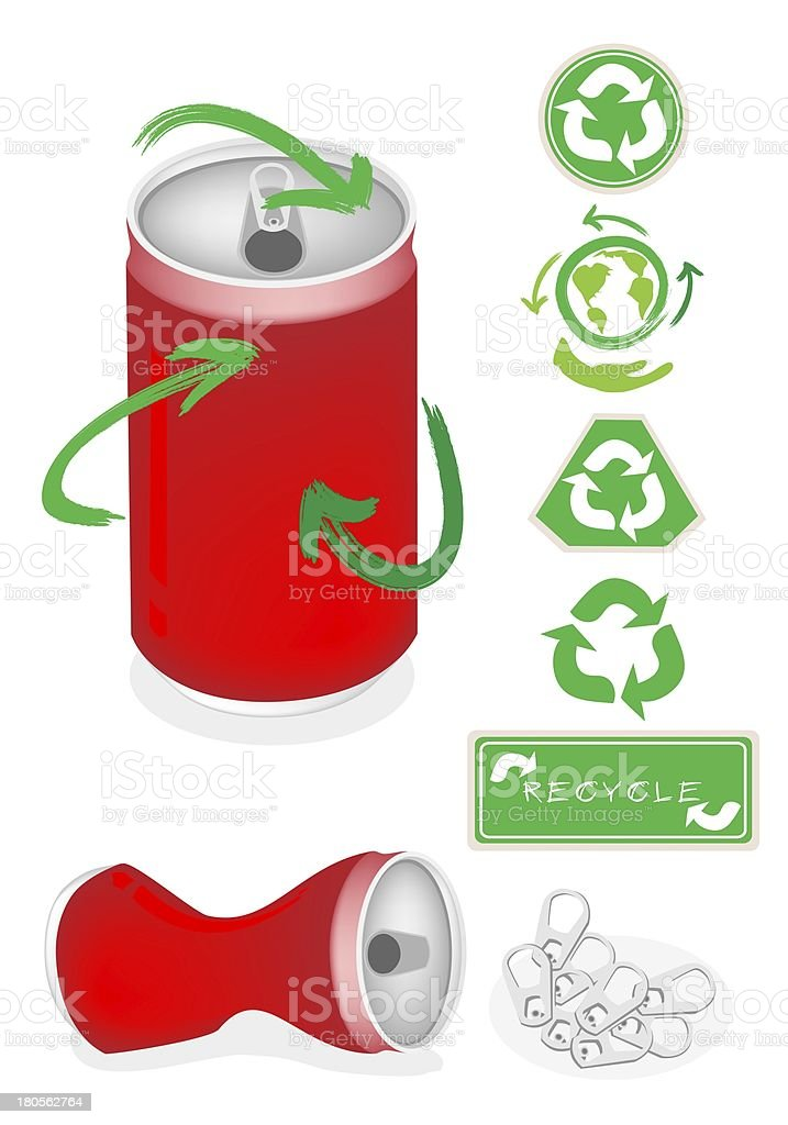 Aluminum Can with Recycle Symbol for Save The World royalty-free stock vector art