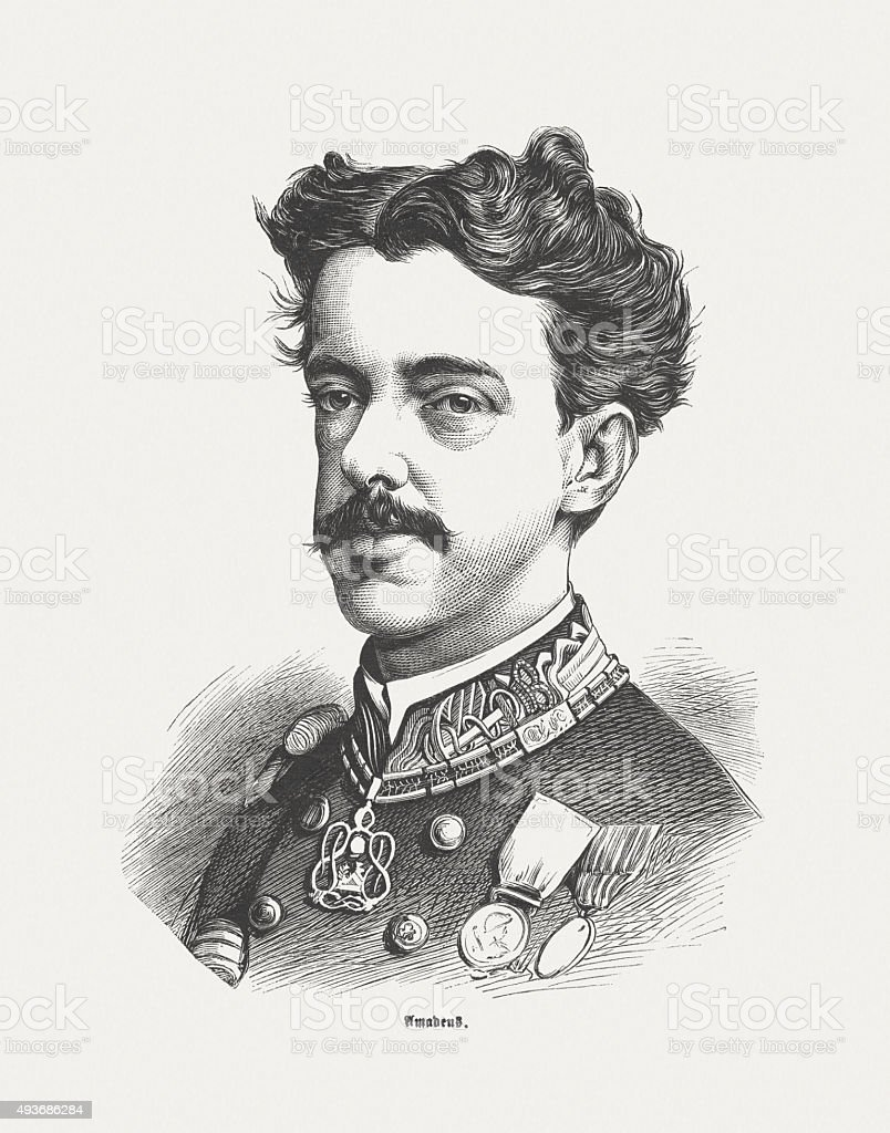 Amadeo I of Spain (1845 - 1890), published in 1871 vector art illustration