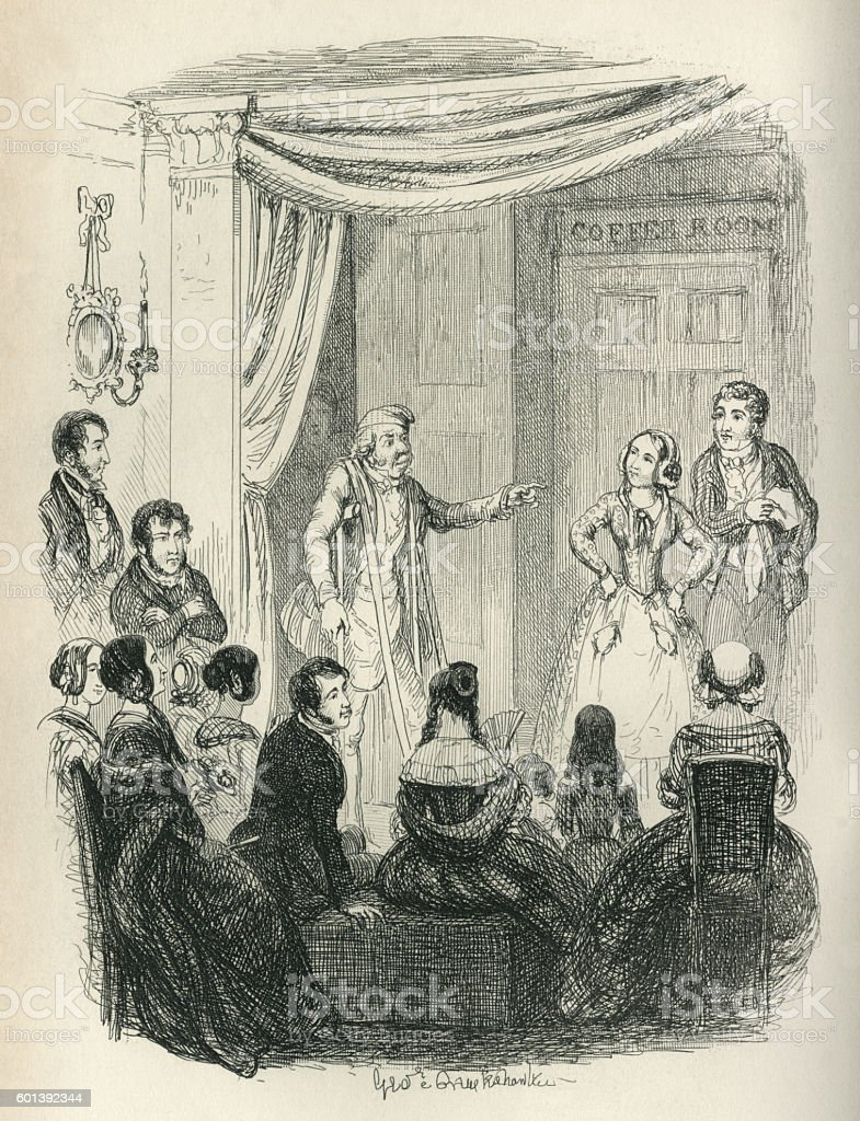 Amateur dramatics by Victorian people vector art illustration