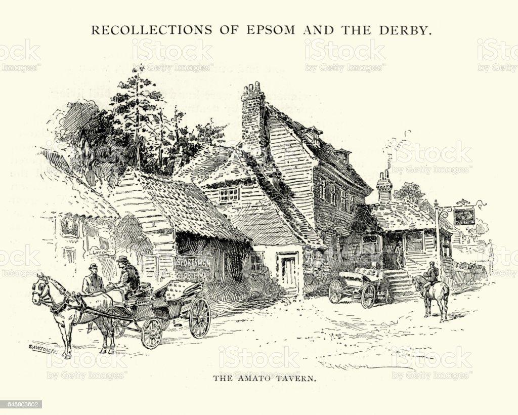 Amato tavern, Epsom, 1892 vector art illustration