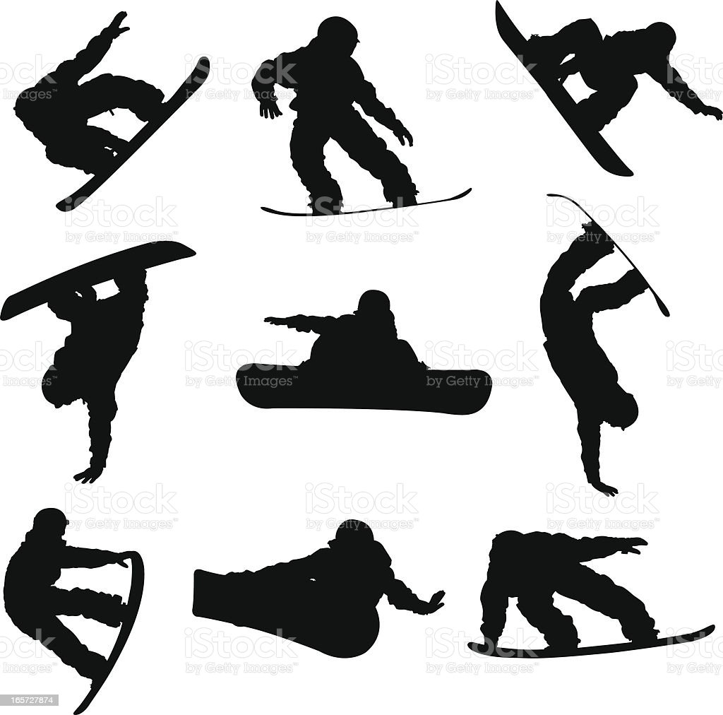 Amazing snowboarding tricks vector art illustration