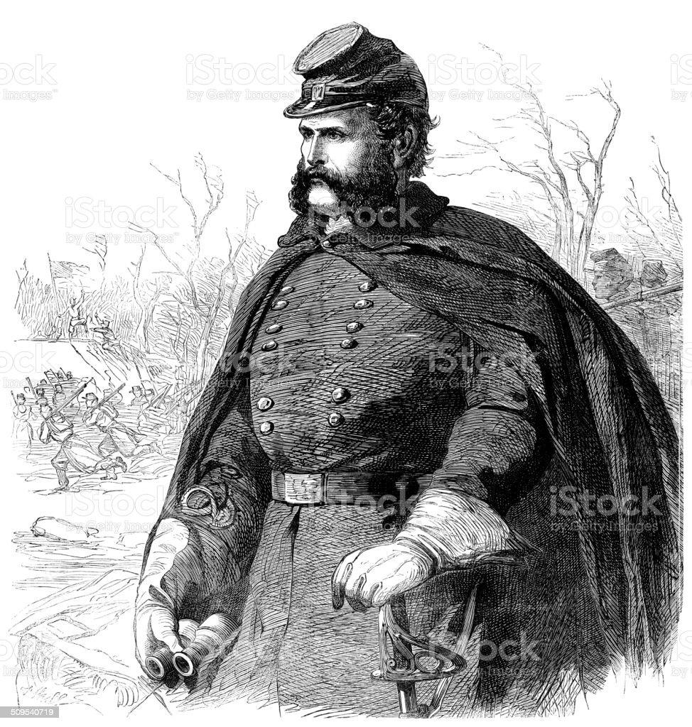 Ambrose Burnside, American Civil War Union Army General vector art illustration