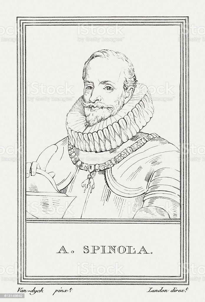 Ambrosio Spinola (1569-1630), Genoese aristocrat, who served as Spanish general vector art illustration