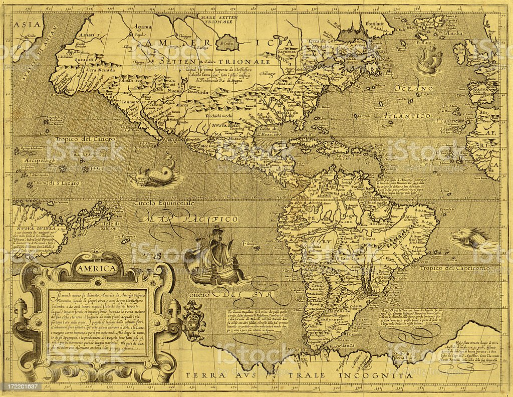 America Early Map Close-up royalty-free stock vector art