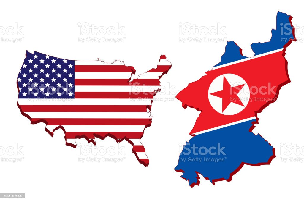 America Map And North Korea Map Stock Vector Art IStock - Us flag on the map