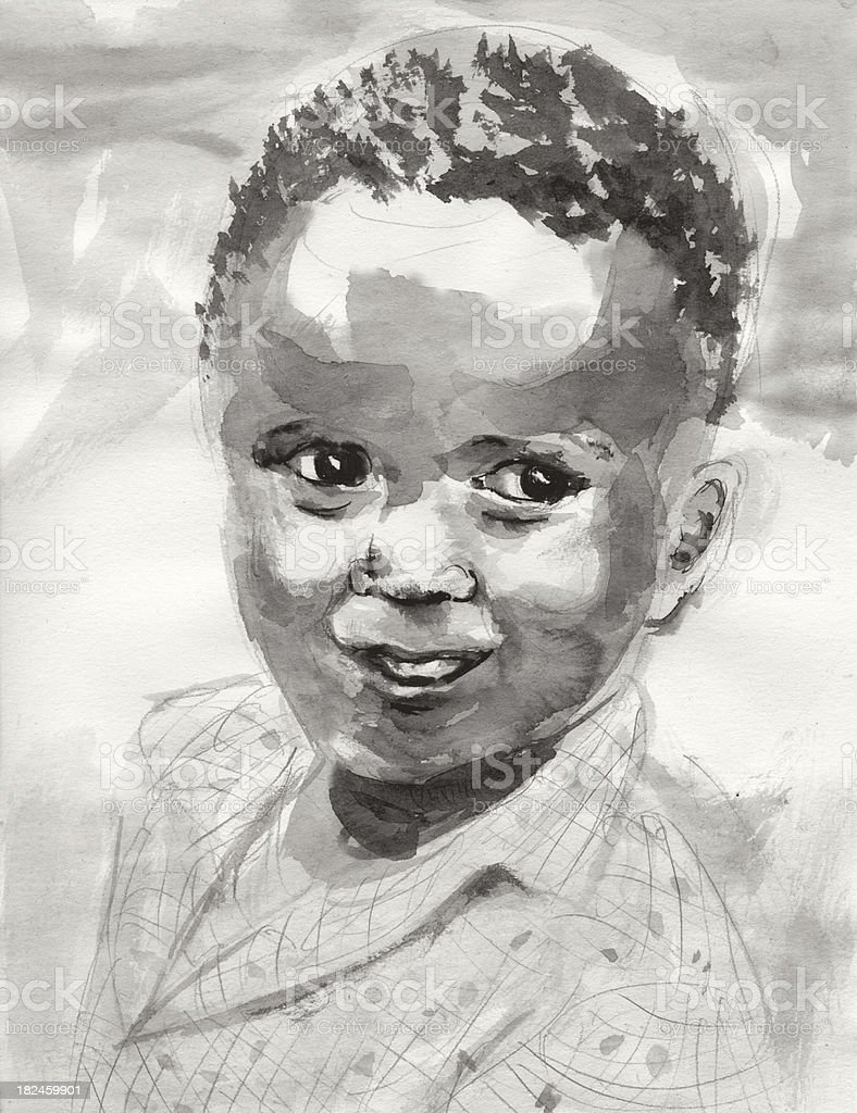 American African Child vector art illustration