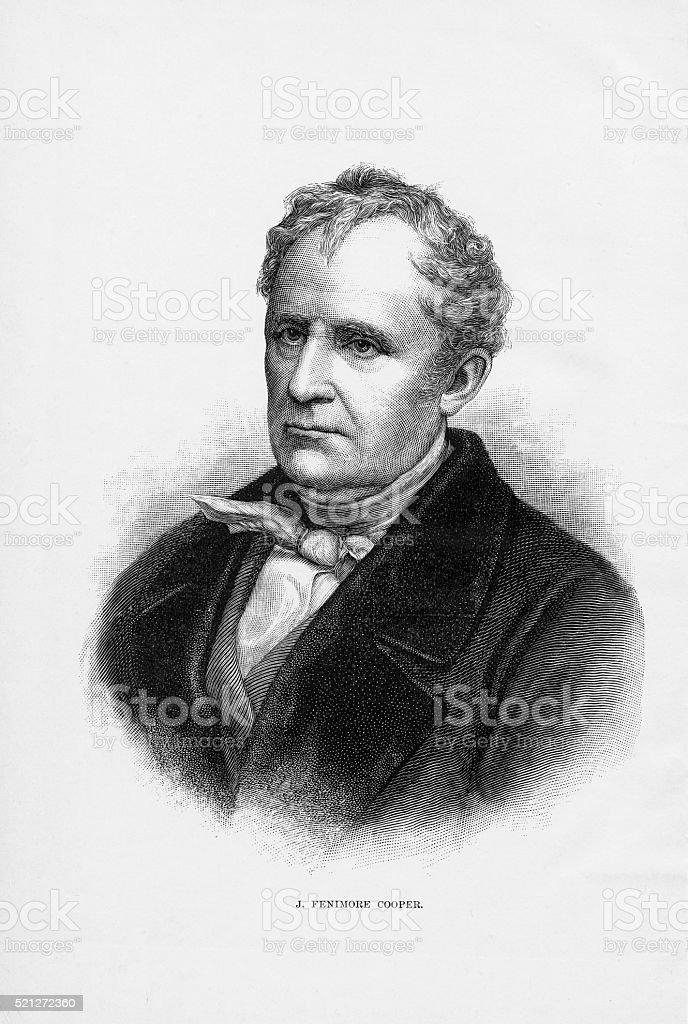 American Author James Fenimore Cooper Engraving, Circa1840 vector art illustration