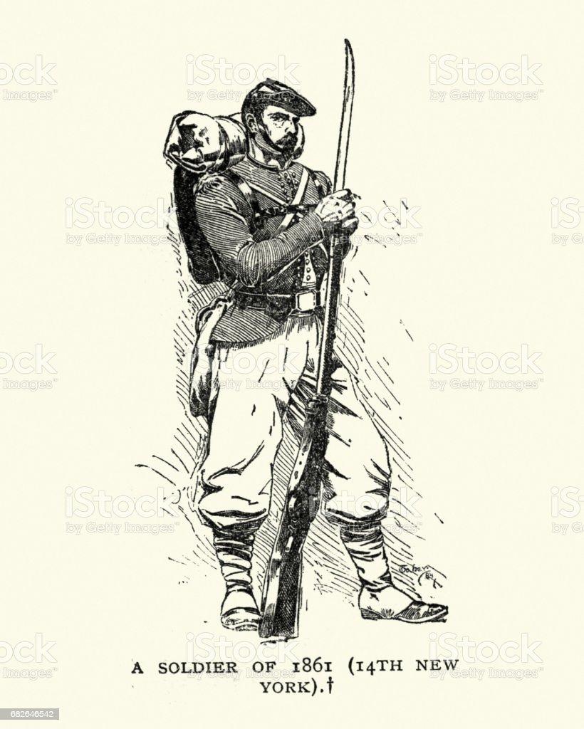 American Civil War - Soldier of 14th New York Infantry vector art illustration