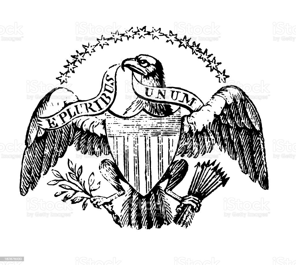 American Eagle | Early Woodblock Illustrations vector art illustration