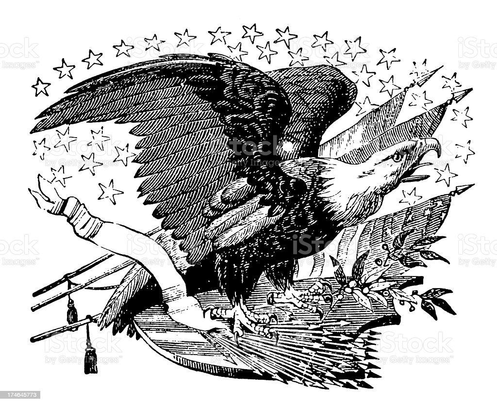 American Eagle with Flags (XXXL) vector art illustration