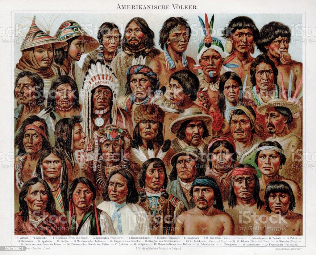 American ethnicity chromolithograph 1895 vector art illustration