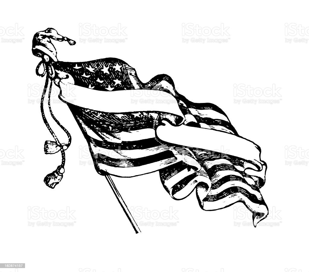 American Flag and a Scroll  | Early Woodblock Illustrations royalty-free stock vector art