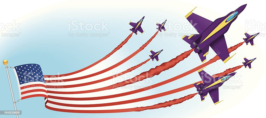 American Flag and Airplanes royalty-free stock vector art