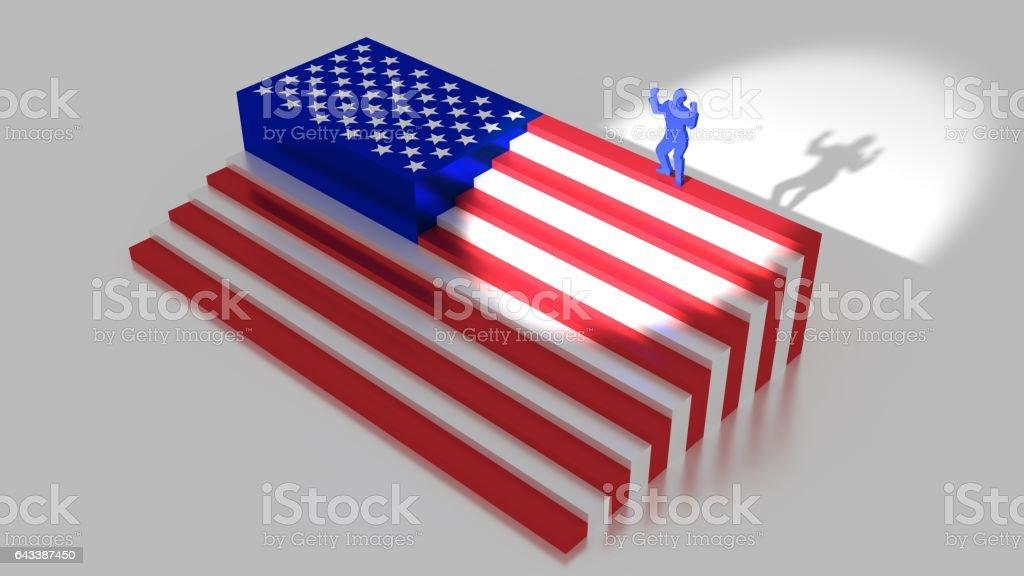 American flag as stairs with a businessman on top vector art illustration