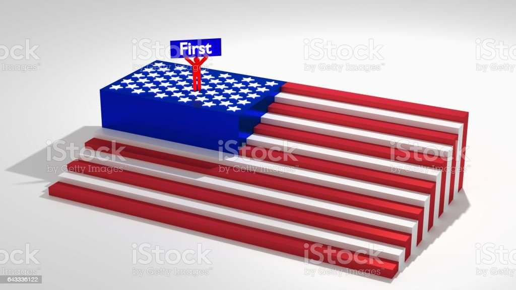 American flag as stairs with a man on top vector art illustration