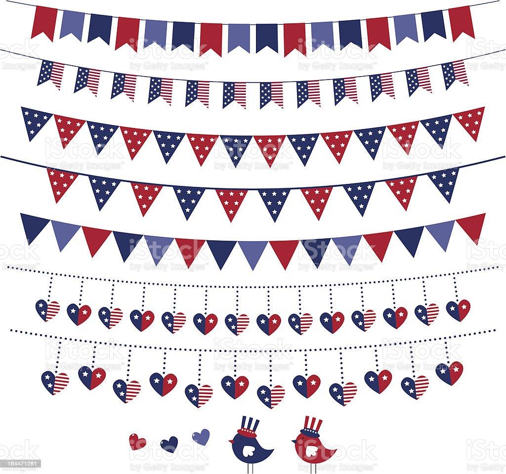 American flag themed bunting set vector art illustration