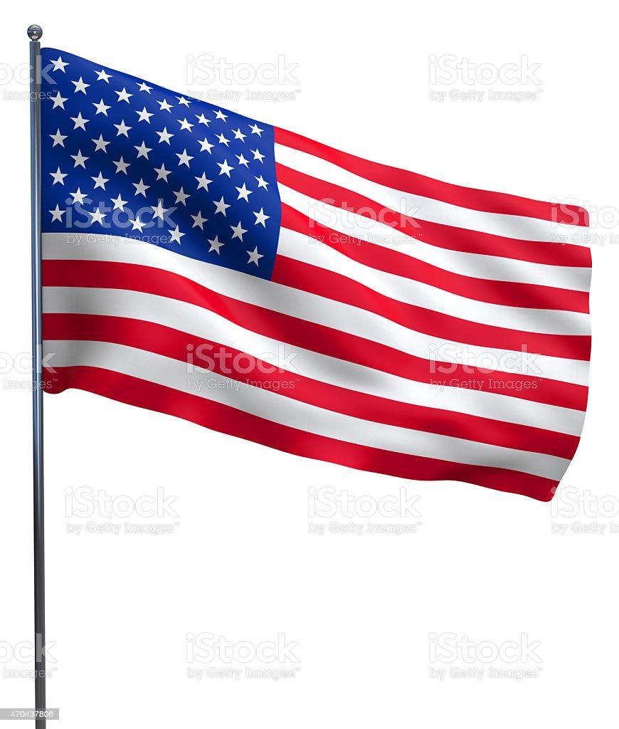 USA American flag waving vector art illustration