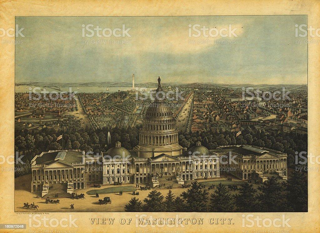 American History Illustrations | View of Washington DC, 1857 royalty-free stock vector art
