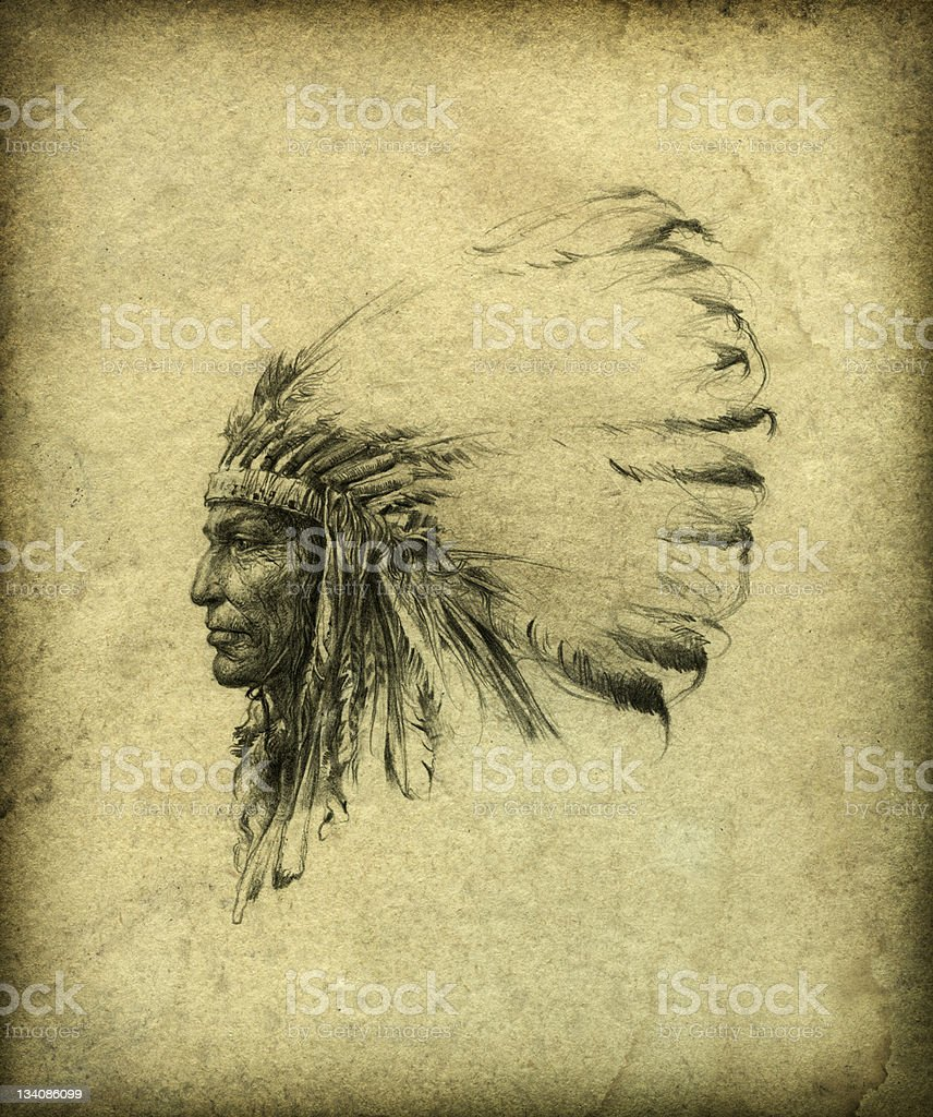 American Indian Chief royalty-free stock vector art