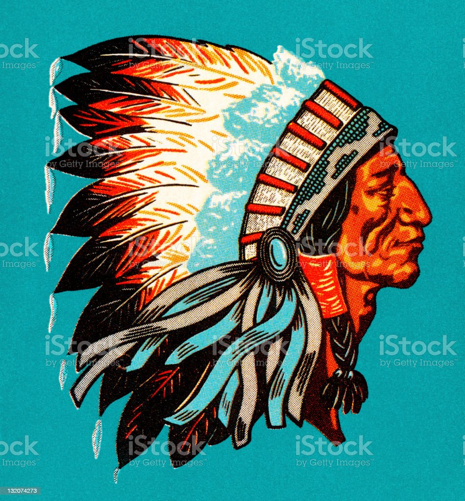 American Indian Chief Profile vector art illustration