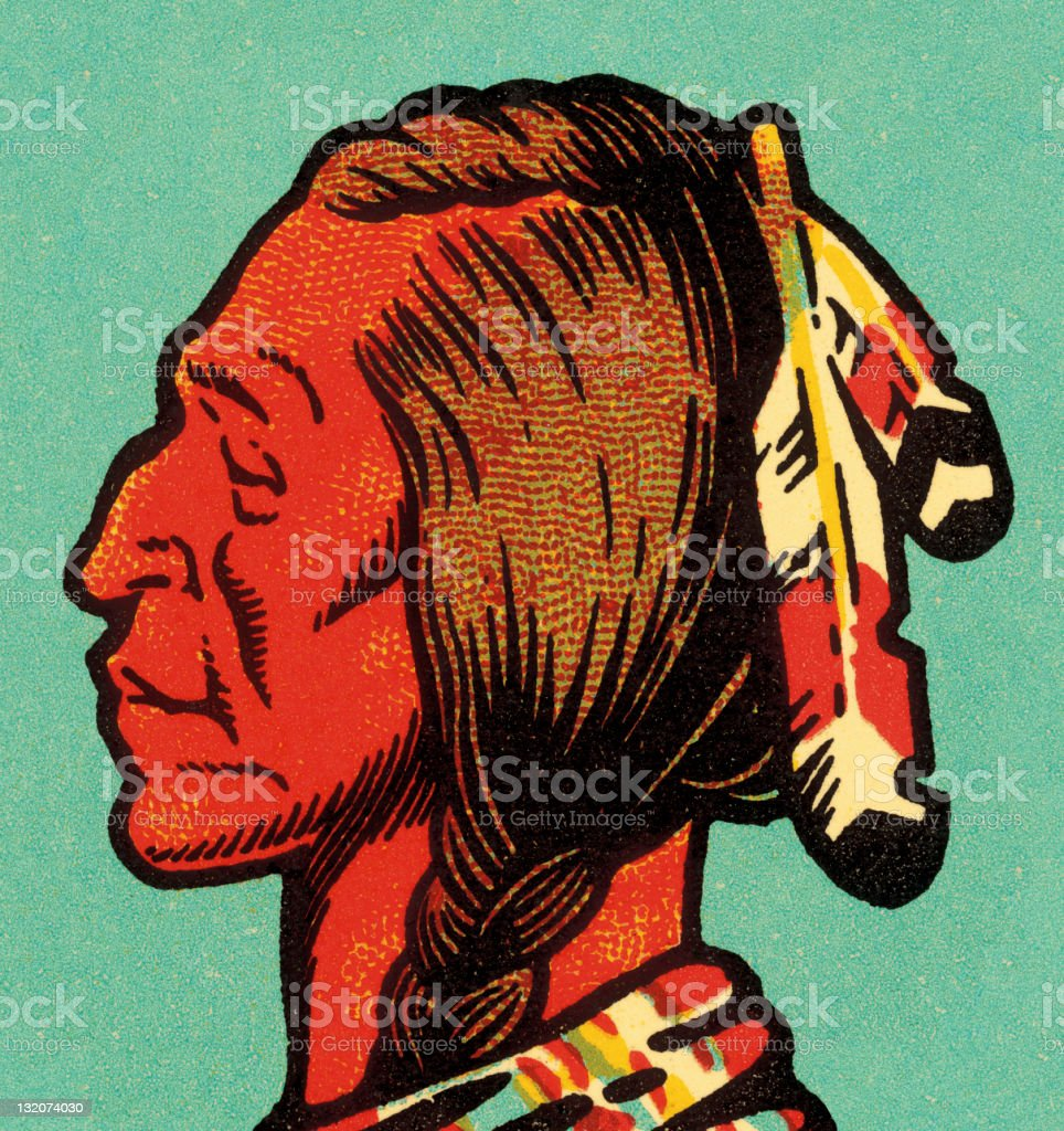 American Indian Man Profile vector art illustration