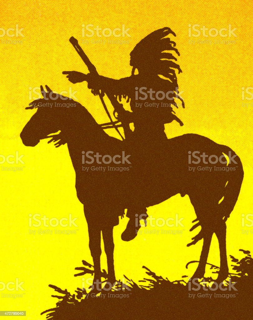 American Indian on a Horse vector art illustration