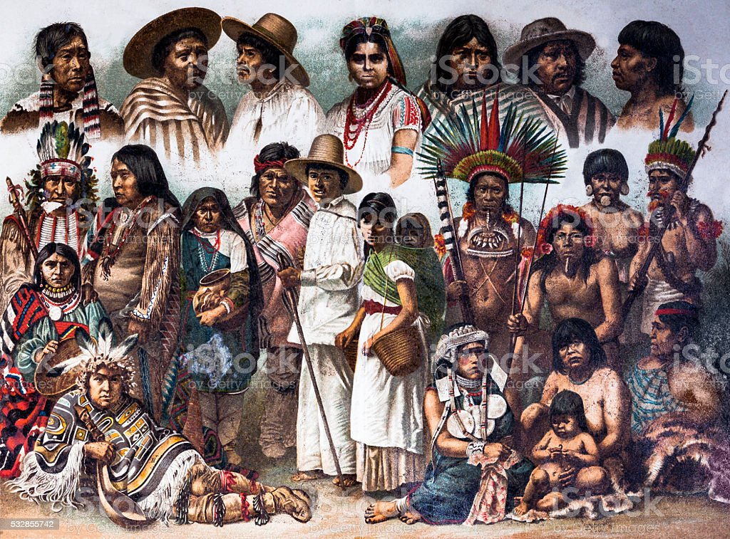 American Native vector art illustration