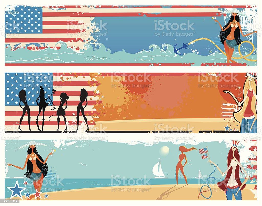 American patriotic vacation banners. royalty-free stock vector art