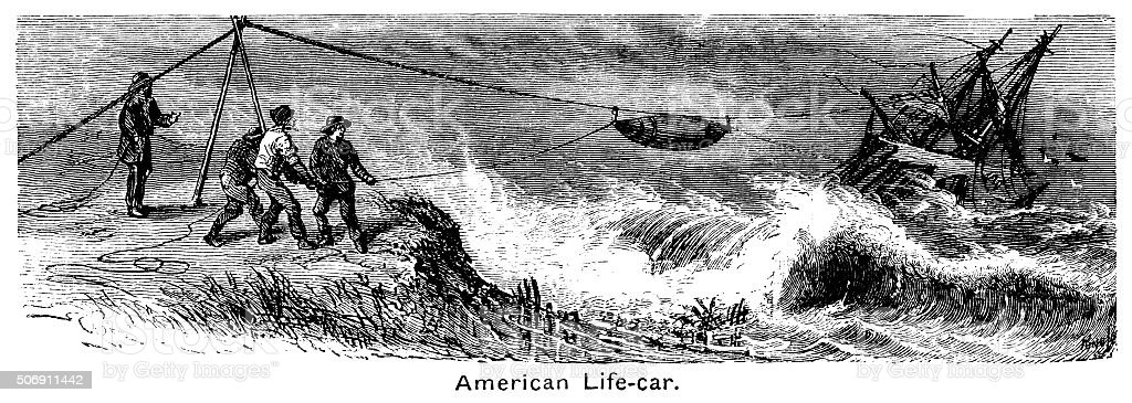 American rescue life-car in action vector art illustration
