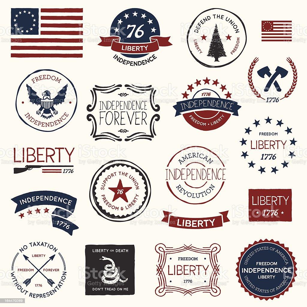 American revolution designs vector art illustration