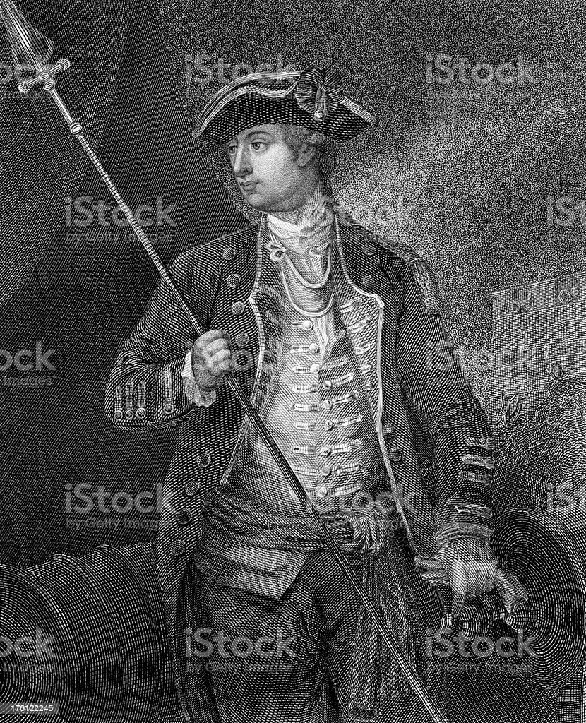 American Revolution Portrait of David Wooster royalty-free stock vector art