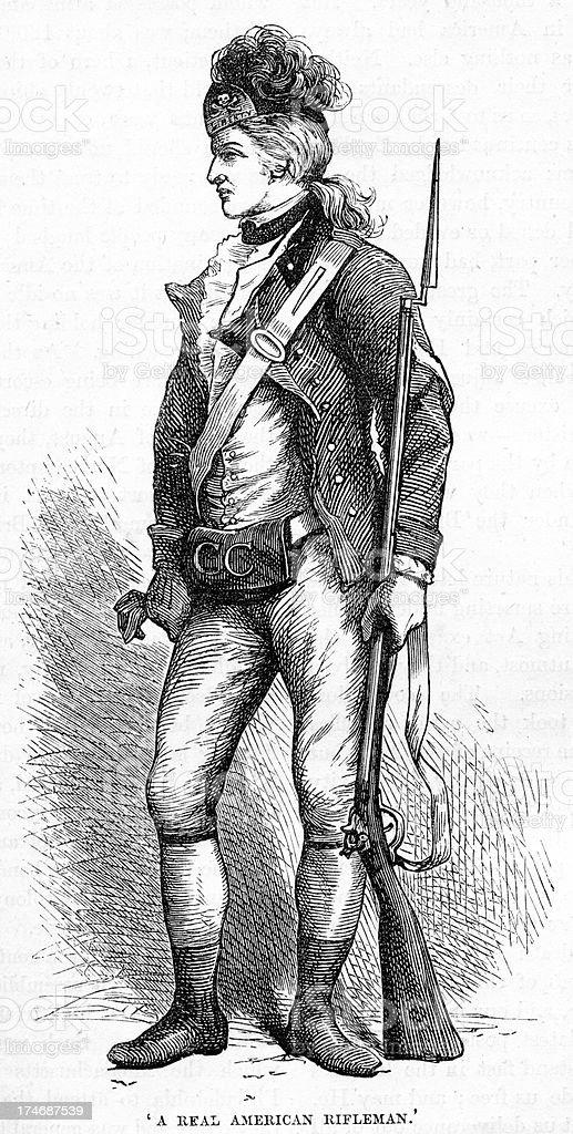 American Rifleman War of Independance royalty-free stock vector art