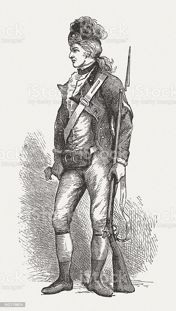 American soldier during the American Revolutionary War (1775-1783), published 1994 vector art illustration