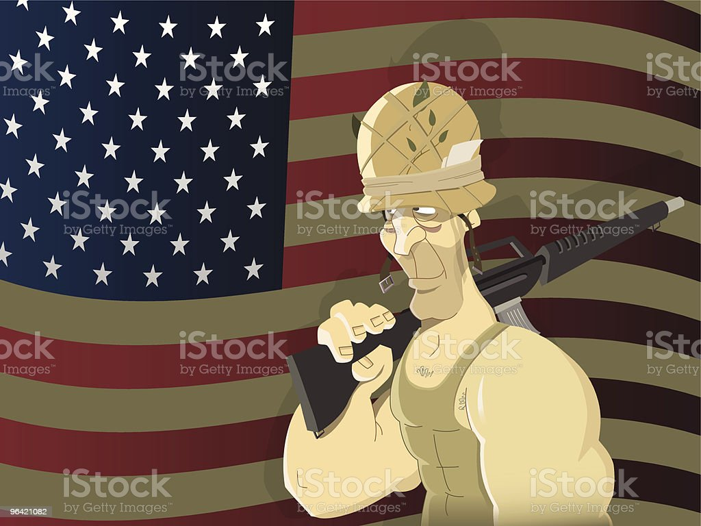 American soldier vector art illustration
