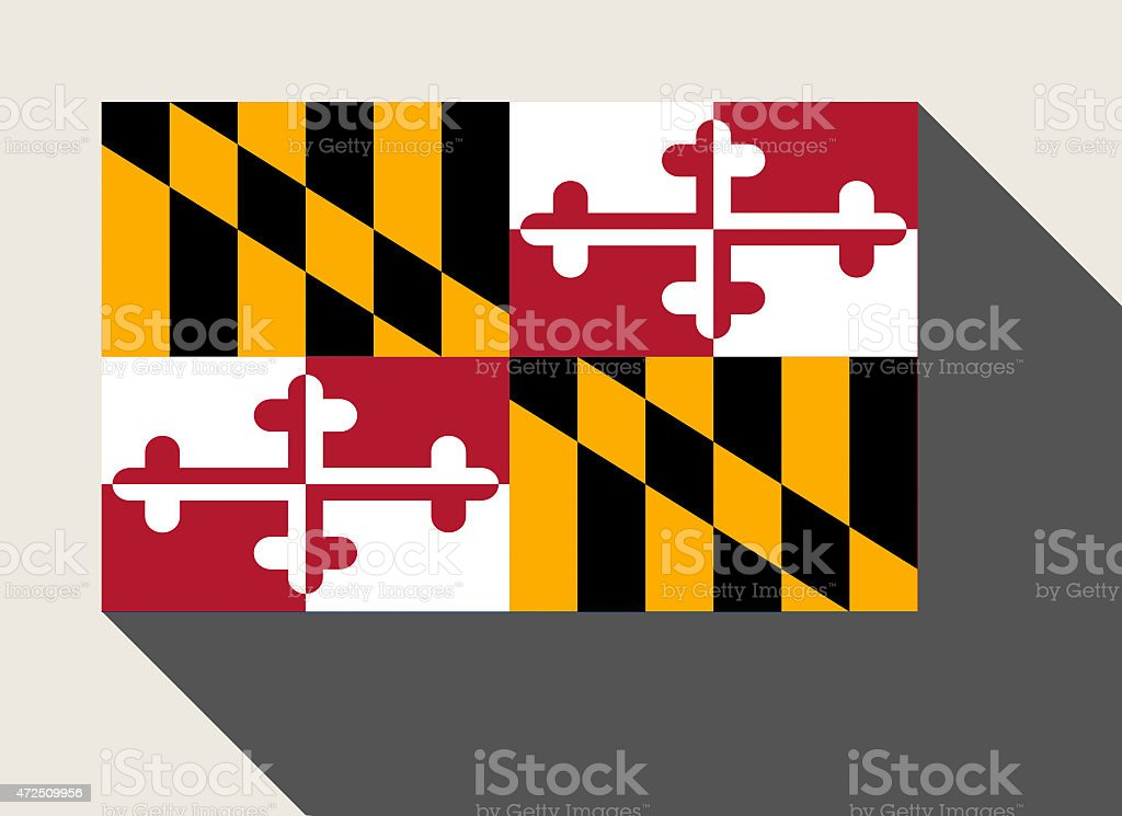 American State of Maryland flag vector art illustration