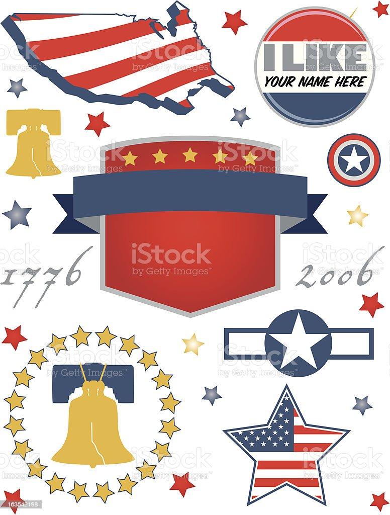 American Symbols vector art illustration