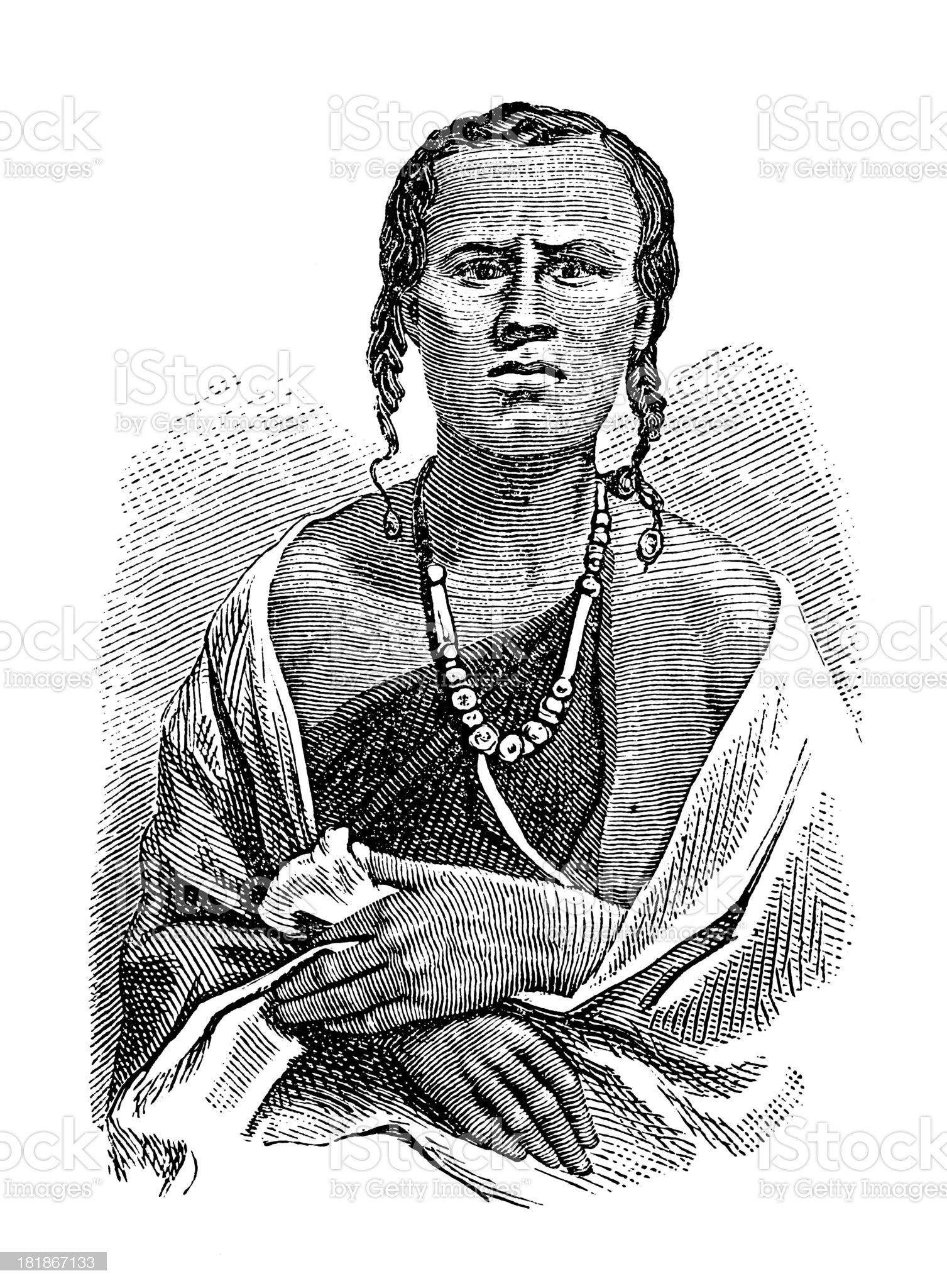 Amhara woman, East Africa (antique wood engraving) royalty-free stock vector art