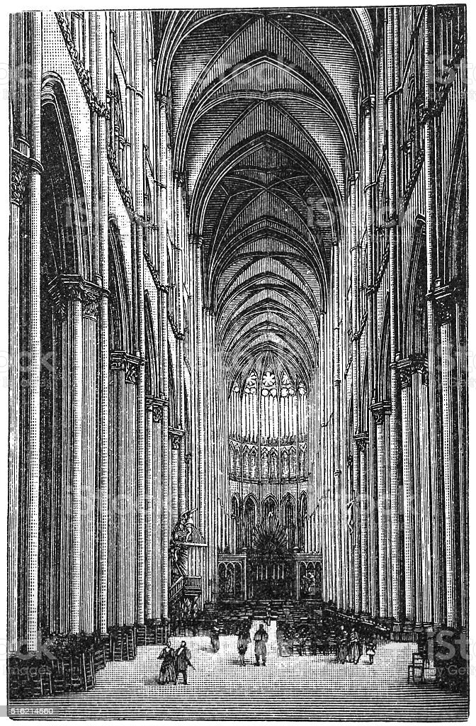 Amiens cathedral vector art illustration