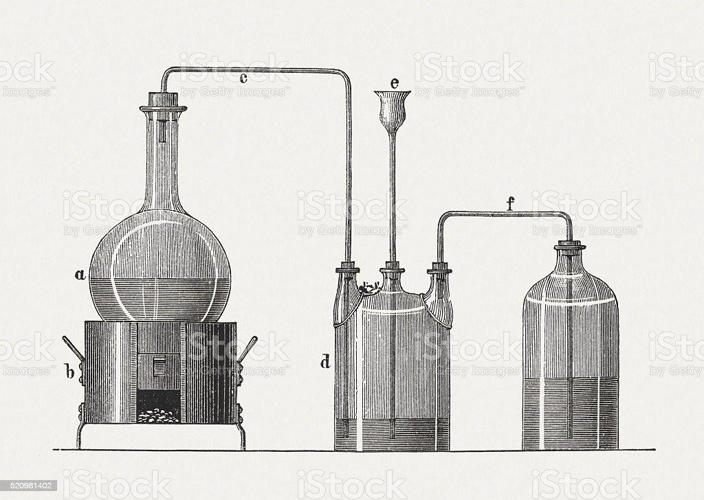 Ammonium hydroxide, wood engraving, published in 1880 vector art illustration
