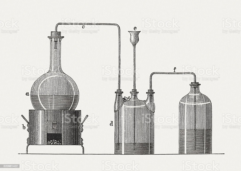 Ammonium hydroxide, wood engraving, published in 1880 vector art illustration