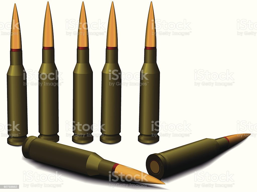 Ammunition for a rifle royalty-free stock vector art
