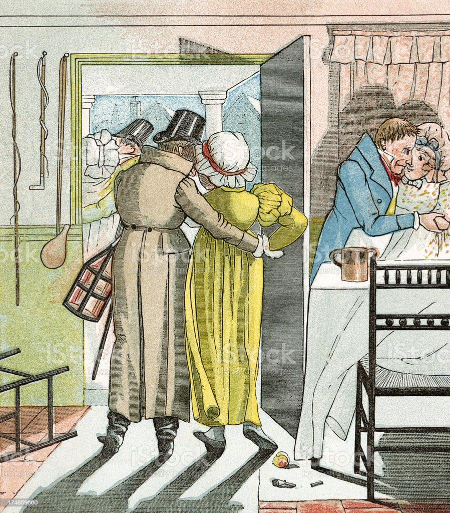 Amorous Regency period couples vector art illustration