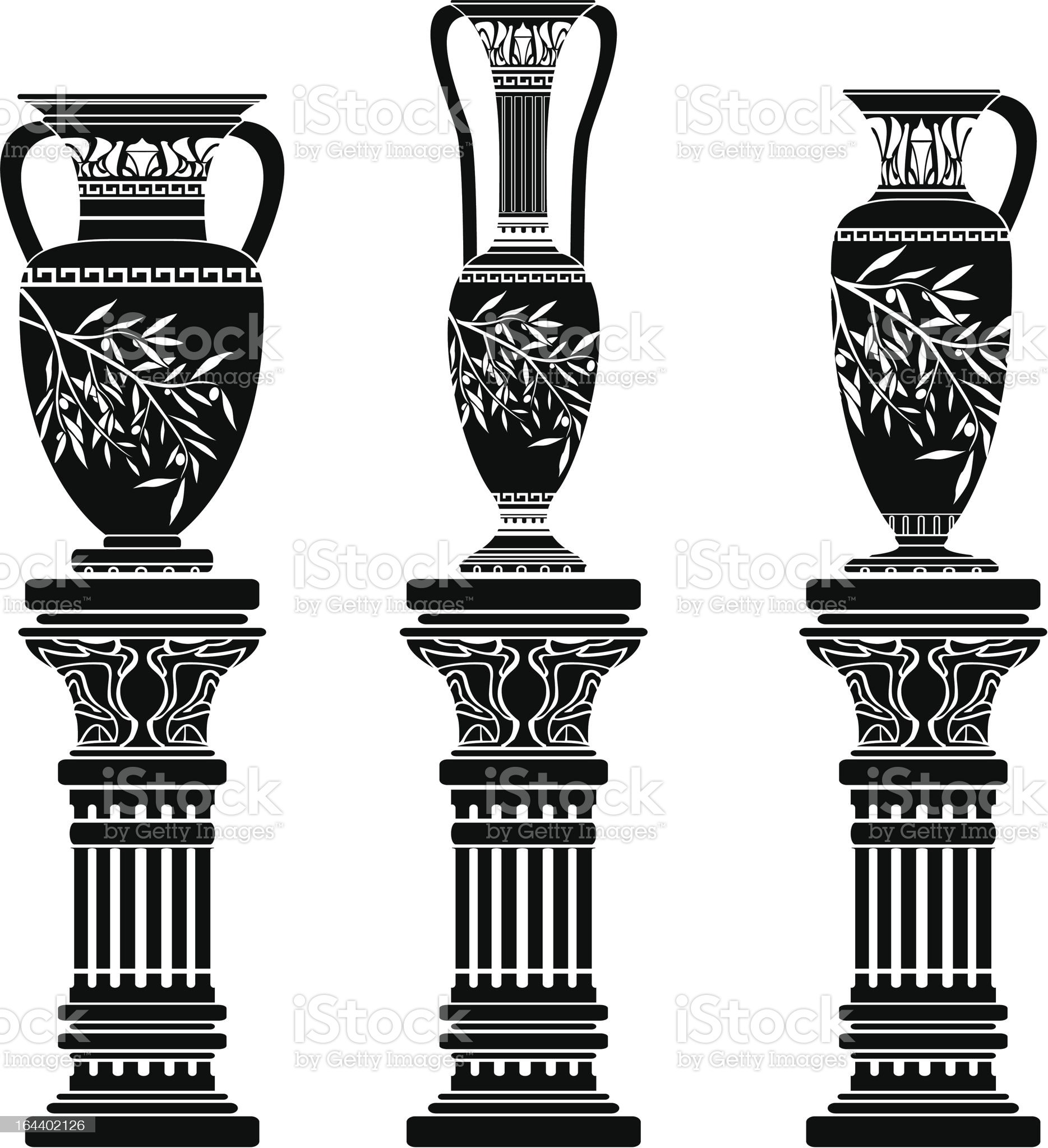 amphoras and jug royalty-free stock vector art