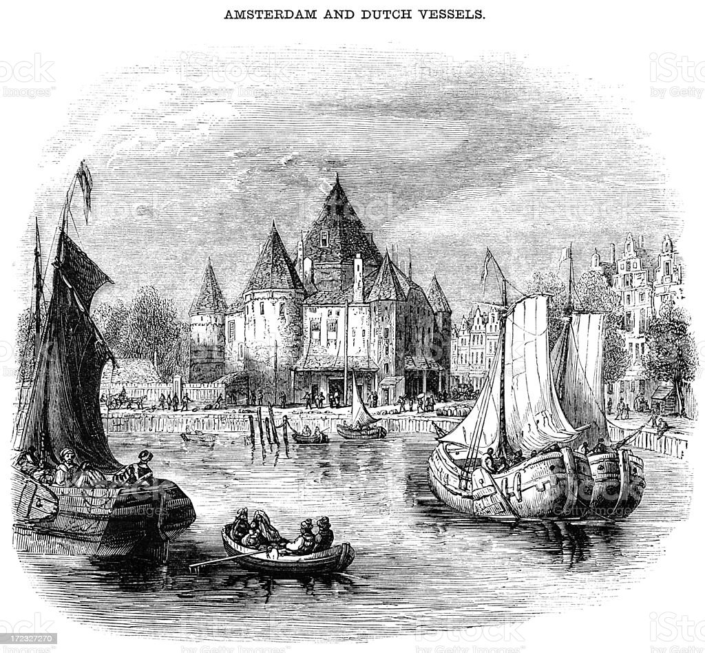 Amsterdam and Dutch vessels (Victorian woodcut) royalty-free stock vector art