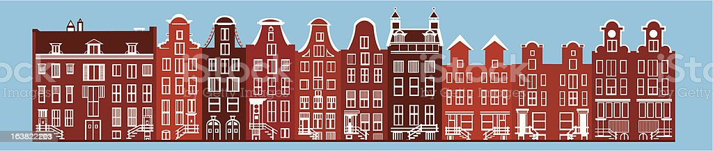 amsterdam canal houses vector art illustration